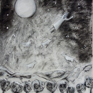 (CreativeWork) Flying At Night Over The Mountains and Forest by Susannah Paterson. drawing. Shop online at Bluethumb.