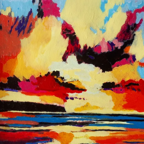 (CreativeWork) Abstract Seascape Sunset Islands 2 by Nicole Seal. Acrylic Paint. Shop online at Bluethumb.