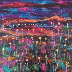 (CreativeWork) Field of Light 4, Uluru by Sheila Posner. arcylic-painting. Shop online at Bluethumb.