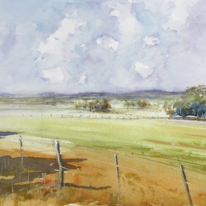 (CreativeWork) View to Pastoria  near Macedon  Ranges Victoria  by Geoff Stanistreet. watercolour. Shop online at Bluethumb.
