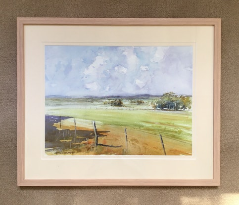 (CreativeWork) View to Pastoria  near Macedon  Ranges Victoria  by Geoff Stanistreet. Watercolour Paint. Shop online at Bluethumb.