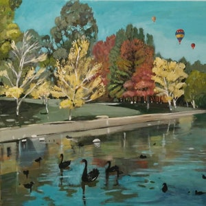 (CreativeWork) Landscape - Black Swans And Balloons by Susan Trudinger. arcylic-painting. Shop online at Bluethumb.