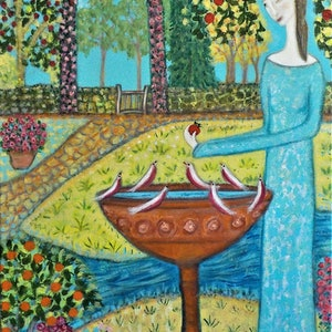 "(CreativeWork) ""The Bird bath"" by Catherine Walker. acrylic-painting. Shop online at Bluethumb."