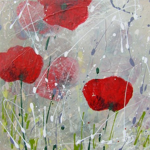 (CreativeWork) HONOUR - POPPIES by Nicky (Nibs) Courtman. arcylic-painting. Shop online at Bluethumb.