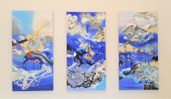 (CreativeWork) Blues Triptych  by Tim Nash. Acrylic Paint. Shop online at Bluethumb.