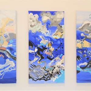 (CreativeWork) Blues Triptych  by Tim Nash. acrylic-painting. Shop online at Bluethumb.