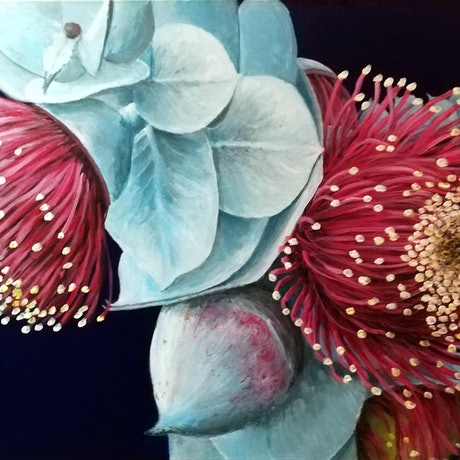 (CreativeWork) Flowering Rose Mallee by Damian Cook. Acrylic Paint. Shop online at Bluethumb.