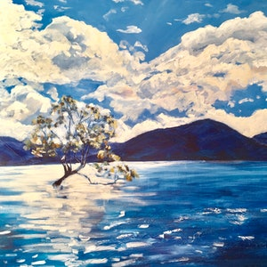 (CreativeWork) The Wanaka Tree by Meredith Howse. acrylic-painting. Shop online at Bluethumb.