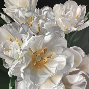 (CreativeWork) Double Tulips in White by Patricia Hillard. arcylic-painting. Shop online at Bluethumb.
