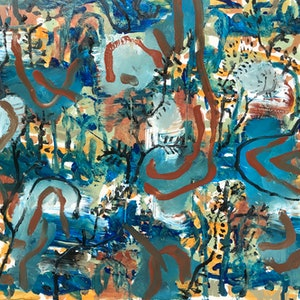 """(CreativeWork) """"Trail to the forest """" by Cameron Gillespie. arcylic-painting. Shop online at Bluethumb."""