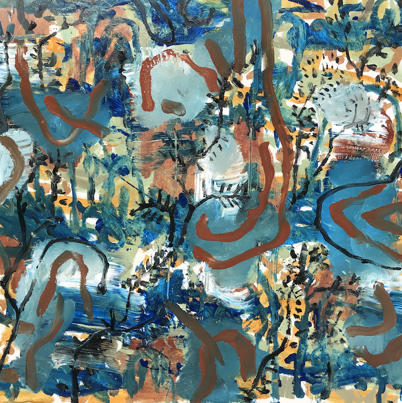 """(CreativeWork) """"Trail to the forest """" by Cameron Gillespie. Acrylic Paint. Shop online at Bluethumb."""