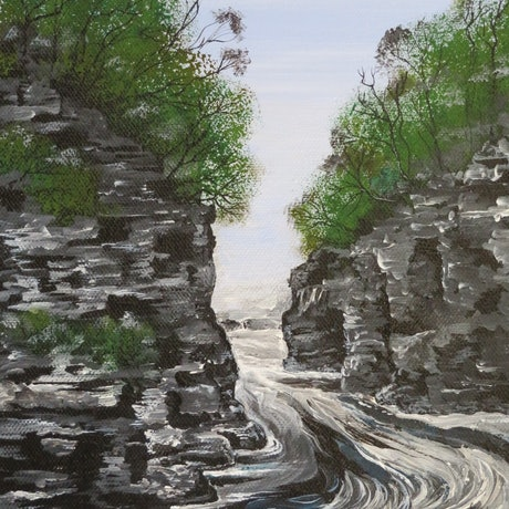 (CreativeWork) Rock Island Bend Franklin River Tasmania by Denise Balson. Acrylic Paint. Shop online at Bluethumb.