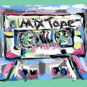 (CreativeWork) Mix Tape by Lisa Fahey. arcylic-painting. Shop online at Bluethumb.