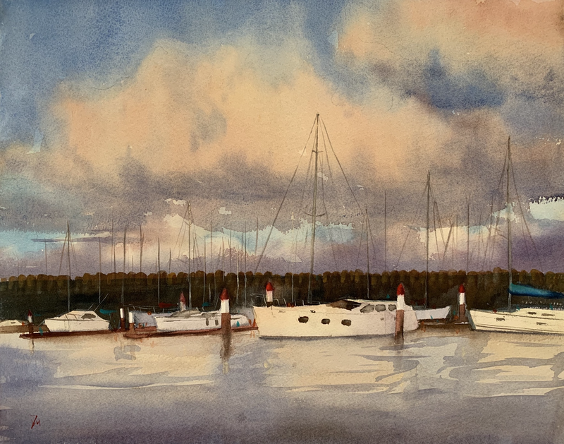(CreativeWork) Harbour sunset by Shelly Du. watercolour. Shop online at Bluethumb.