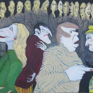 (CreativeWork) Street Theatre by Sandra Nicolaides. oil-painting. Shop online at Bluethumb.