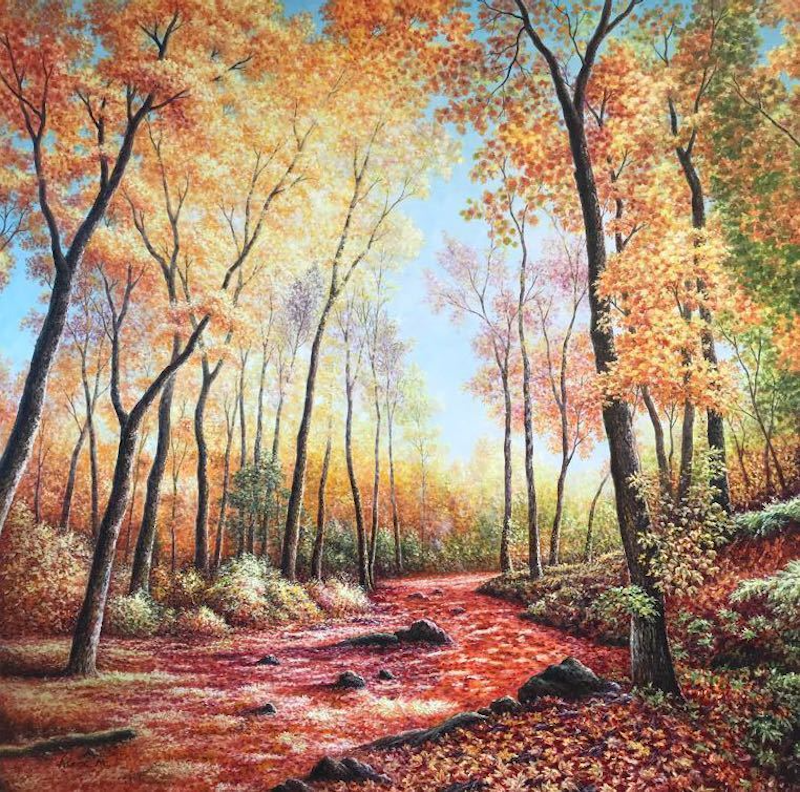 (CreativeWork) Maple Leaves by Alex Mo. oil-painting. Shop online at Bluethumb.