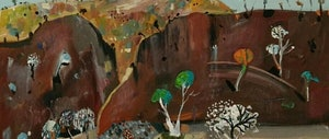 (CreativeWork) Australian landscape - Red Rock by Susan Trudinger. arcylic-painting. Shop online at Bluethumb.