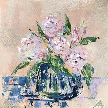 (CreativeWork) Peonies in the blue vase by Maggie Deall. Acrylic Paint. Shop online at Bluethumb.