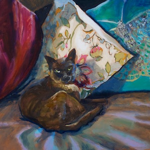 (CreativeWork) Burmese cat - The Chouch on the couch by fiona smith. oil-painting. Shop online at Bluethumb.