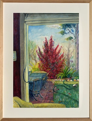 View from window of red tree, magpie and garden