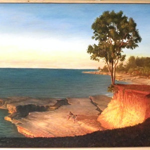 (CreativeWork) Nightcliff Hanging Tree by Mike Rule. oil-painting. Shop online at Bluethumb.