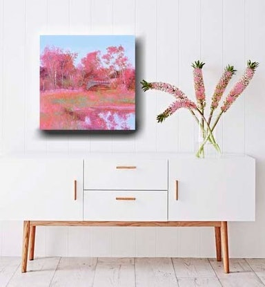(CreativeWork) LANDSCAPE IN PINK by Jan Matson. Oil Paint. Shop online at Bluethumb.