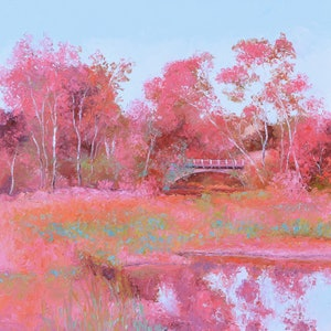 (CreativeWork) LANDSCAPE IN PINK by Jan Matson. oil-painting. Shop online at Bluethumb.