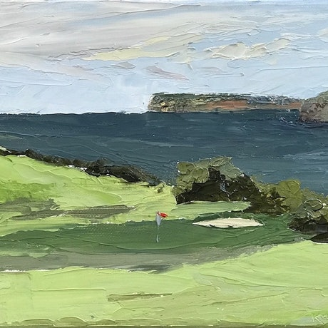 (CreativeWork) The 7th at Long Reef by Kaz Brock. Oil Paint. Shop online at Bluethumb.