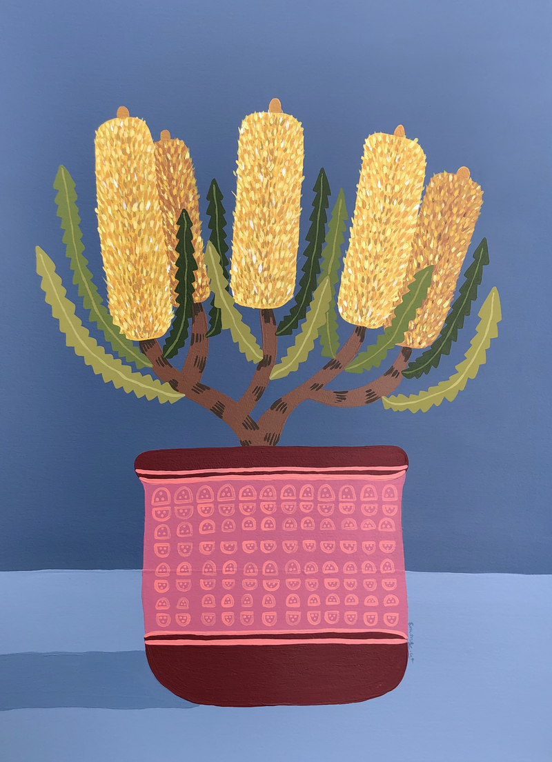 (CreativeWork) Golden  Bottlebrush Still life by emma whitelaw. arcylic-painting. Shop online at Bluethumb.