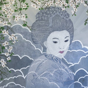 (CreativeWork) GEISHA by Lisa Dangerfield. arcylic-painting. Shop online at Bluethumb.