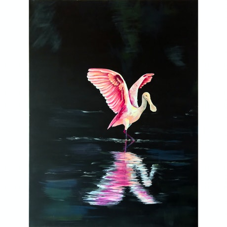 (CreativeWork) Spoonbill Dancing by Monique M. Acrylic Paint. Shop online at Bluethumb.