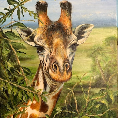 (CreativeWork) Giraffe by Jenni Zammit. Acrylic Paint. Shop online at Bluethumb.