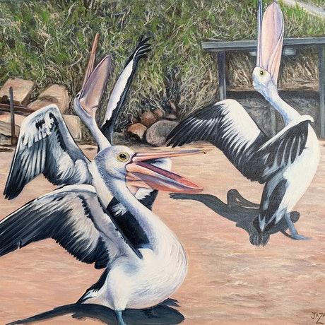 (CreativeWork) Pelicans Feeding by Jenni Zammit. Acrylic Paint. Shop online at Bluethumb.