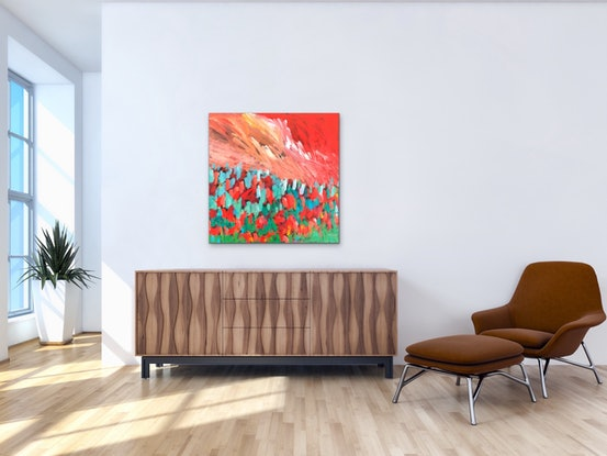 (CreativeWork) Hot Romance - Abstract Visions Series 2019  - Flowers by Jen Shewring. #<Filter:0x00007f3c36adfc90>. Shop online at Bluethumb.