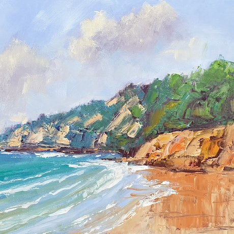 (CreativeWork) Coolum Beach at Easter by Rod Moore. Acrylic Paint. Shop online at Bluethumb.