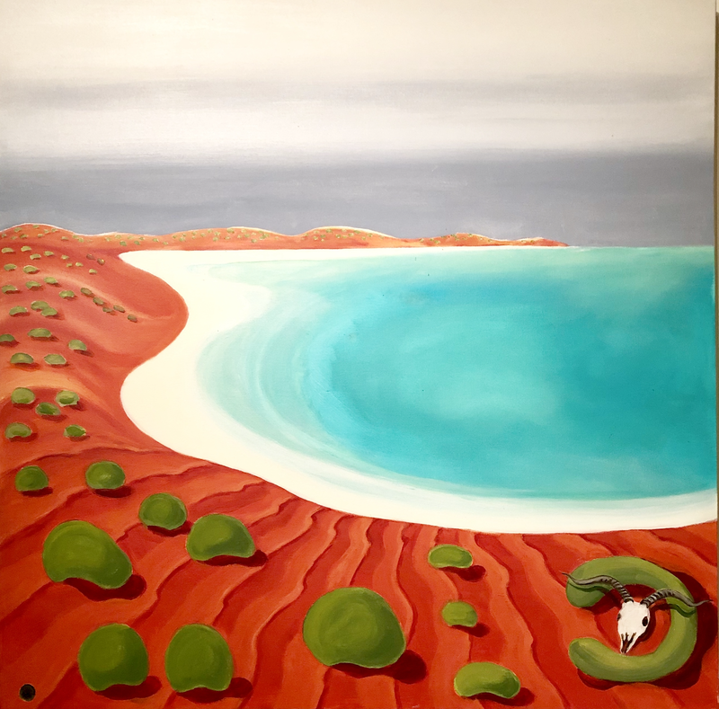 (CreativeWork) White Shell Bay by Roby Callaghan. arcylic-painting. Shop online at Bluethumb.