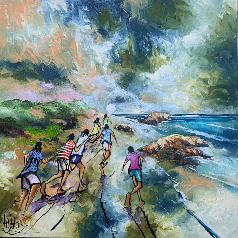 (CreativeWork) Moon Chasers - Original Artwork by Donald James Waters OAM. acrylic-painting. Shop online at Bluethumb.