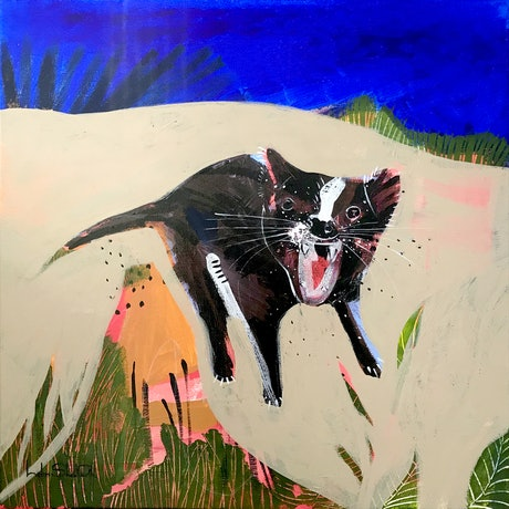 (CreativeWork) Wild Devil by Helen Shadforth. Acrylic Paint. Shop online at Bluethumb.