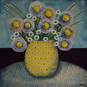 (CreativeWork) Flowers by Ornella Imber. acrylic-painting. Shop online at Bluethumb.