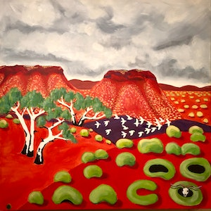(CreativeWork) Pilbara in flight by Roby Callaghan. arcylic-painting. Shop online at Bluethumb.