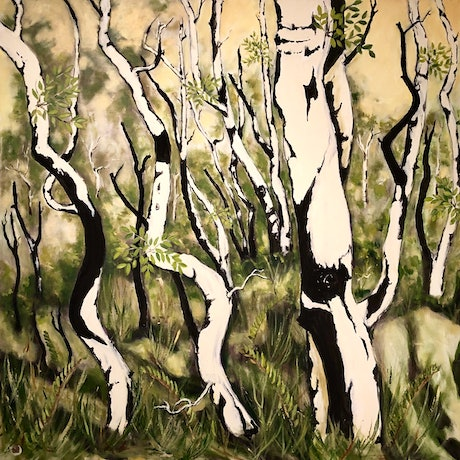 (CreativeWork) Tea Tree Totems by Roby Callaghan. Acrylic Paint. Shop online at Bluethumb.
