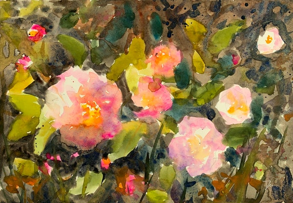 (CreativeWork) Camellia II by Shelly Du. Watercolour Paint. Shop online at Bluethumb.