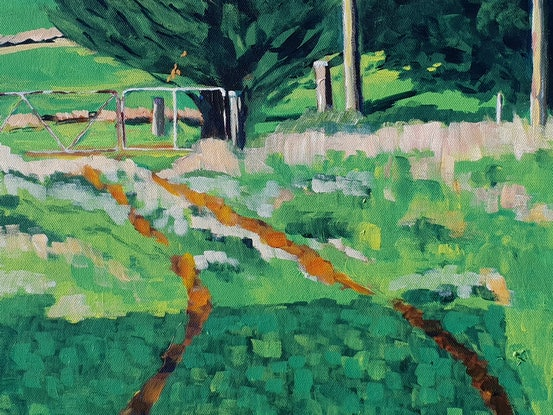 (CreativeWork) The Back Gate by David Foster. Acrylic. Shop online at Bluethumb.