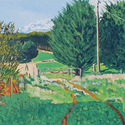 (CreativeWork) The Back Gate by David Foster. Acrylic Paint. Shop online at Bluethumb.
