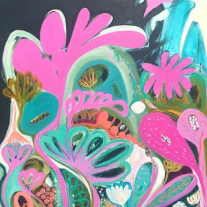 (CreativeWork) Pink Paradise by Sarah Morrow. arcylic-painting. Shop online at Bluethumb.