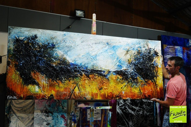 (CreativeWork) Blue Sienna 240cm x 100cm Blue Yellow Sienna Golden Abstract Textured  art FRANKO  by _Franko _. Mixed Media. Shop online at Bluethumb.