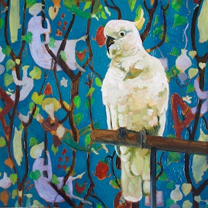 (CreativeWork) Cockatoo - Bill with Stig Lindberg wallpaper by fiona smith. oil-painting. Shop online at Bluethumb.