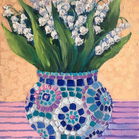 (CreativeWork) Lily of the valley in mosaic vase – framed original oil painting by Irina Redine. Oil Paint. Shop online at Bluethumb.