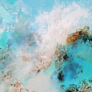 (CreativeWork) Ocean Burst by Sue Dyde. mixed-media. Shop online at Bluethumb.