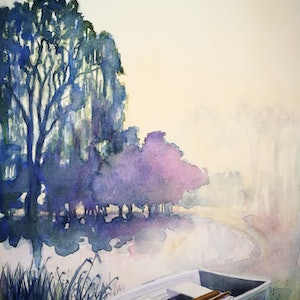 (CreativeWork) Serenity by Lucinda Leveille. watercolour. Shop online at Bluethumb.